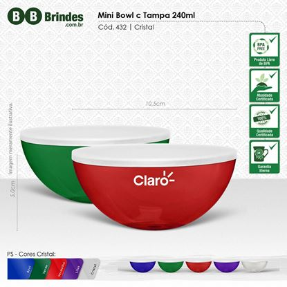 Imagem de Mini Bowl 240mL PP Translucido com tampa