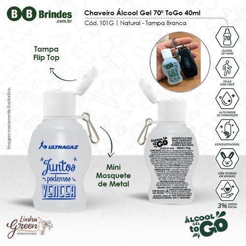 Imagem de Chaveiro Álcool Gel 70 ToGo 40ml