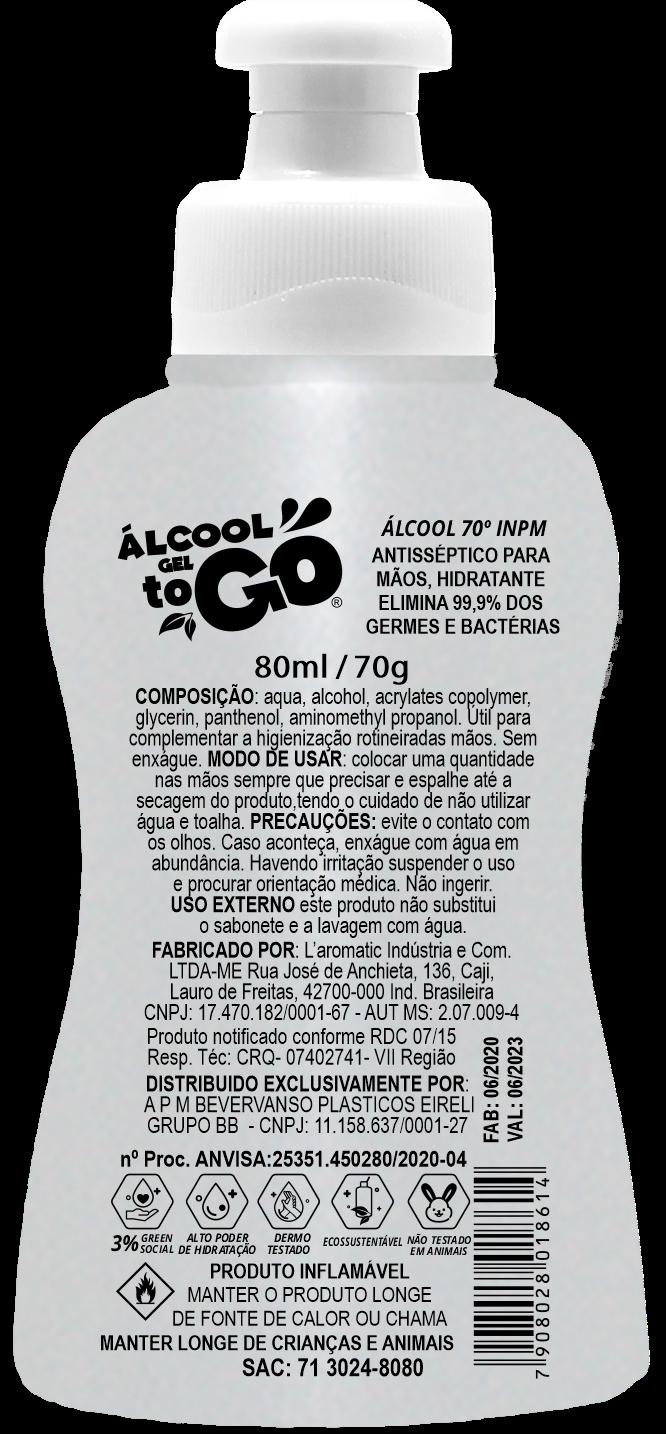 Imagem de Álcool Gel 70 ToGo 80ml com Cordão